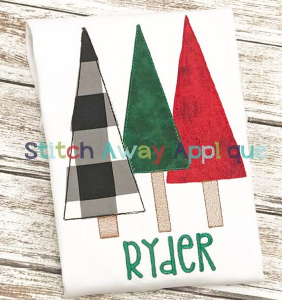 Raggy Tree Trio Applique, Tree Applique, Christmas Tree Applique, Christmas Tree Shirt, Boy Christmas Shirt