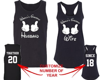 Couple Matching TANK Tops WORLD'S Greatest Husband Wife Together Since Back Side Date Numbers Matching Couple Tank Top Tees