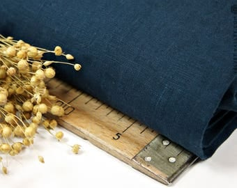 Softened dark blue linen fabric -Dark blue linen- Stonewashed dark teal blue fabric for clothing, bedding