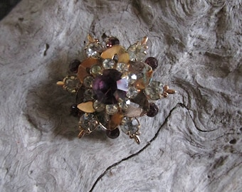 Copper Colored Vintage Purple Glass and White Rhinestone Brooch Pin Circular Floral Pattern Fashion Accessory