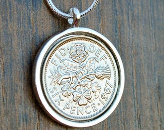 1947- 67 Lucky Sixpence Necklace 1958 60th 1967 51st 1948 70th Bride Necklace Wedding Sixpence English Coin Necklace Grandmother Willoughby