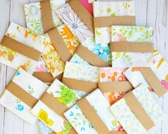 Vintage Sheets. 20 Vintage Sheet Charm Pack. 5 x 5 Fabric Squares. 5 Inch. Quilting Bundle. Retro. Quilt Squares. Vintage Fabric. Floral