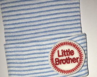 2 Ply Newborn Hospital Hat With Little Brother appliqué.  Every New Baby Boy Should Have!
