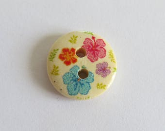 Pink and turquoise flower pattern wooden button
