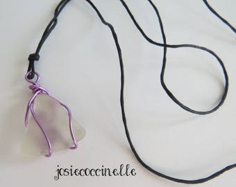 Beach style white glass long necklace boho-chic (#12)