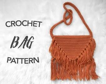 Crochet bag pattern, crochet pattern, crochet boho bag, crochet fringe bag, instant pdf download, digital pattern, picture tutorial, JETHRO
