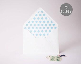 large polka dot lined envelopes (25 color options) - sets of 10  // modern envelope liners wedding shower party invitation invite