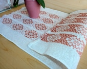 Woven wool table runner Geometric ornament Swedish vintage tablecloth White pink doily Scandinavian design table decor Folk art textile