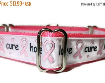 """SALE Hope*Love*Cure* Breast Cancer Nylon Dog Collar * 1"""" Width Only * Buckle Collar * Martingale Collar * Chain Martingale"""