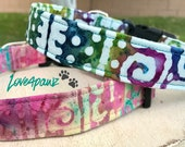 Handmade Fabric Hawaiian Tribal Hawaii Islands Design Adjustable Dog or Cat Collar