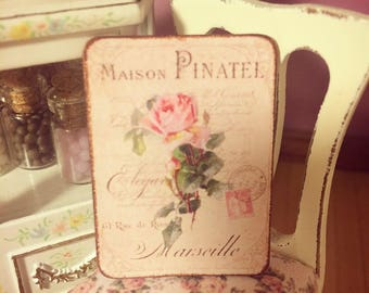 Miniature Shabby Chic Sign - 1/12 scale, dollhouse sign. Handmade miniature sign in aged, shabby chic, french cottage style
