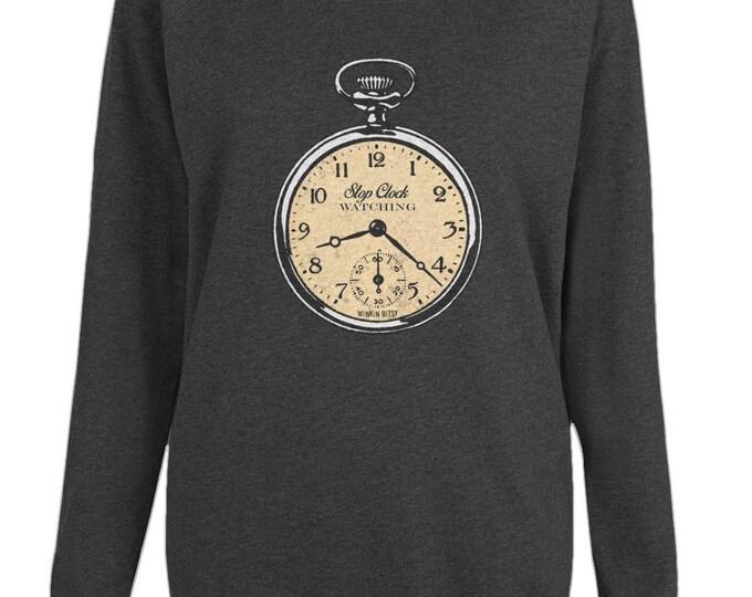 Stop Clockwatching Altered Vintage Art Womens Organic Cotton Raglan Sweatshirt. Black.