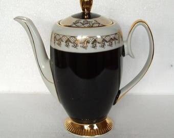 Vintage Chodziez Poland  Black and Gold Coffee Pot