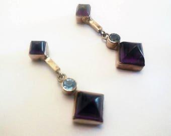 Earrings Genuine Amethyst 925 Sterling Silver Vintage Dangle Drops Studs Jewelry Dark Stone Women's Fashion Accessories