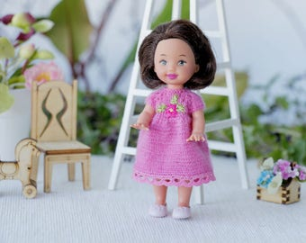 4 inches Miniature knit  pink dress with embroidery  Kelly doll. Doll Clothing, Dolls outfit. Pink dress for doll 4 inch fits Lati white SP.