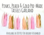 Blush Pink, Peach and Gold Tassel Garland with Jute Twine, Pink and Gold Backdrop, Photo Prop, Party Decoration, Wall Decor, Birthday Decor