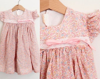 Vintage Baby Dress/ Baby Girl Dress/ Baby Girl Clothes/ Baby Dress/ 2T/ Pink/ Floral/ C.I. Castro & Co/ Calico