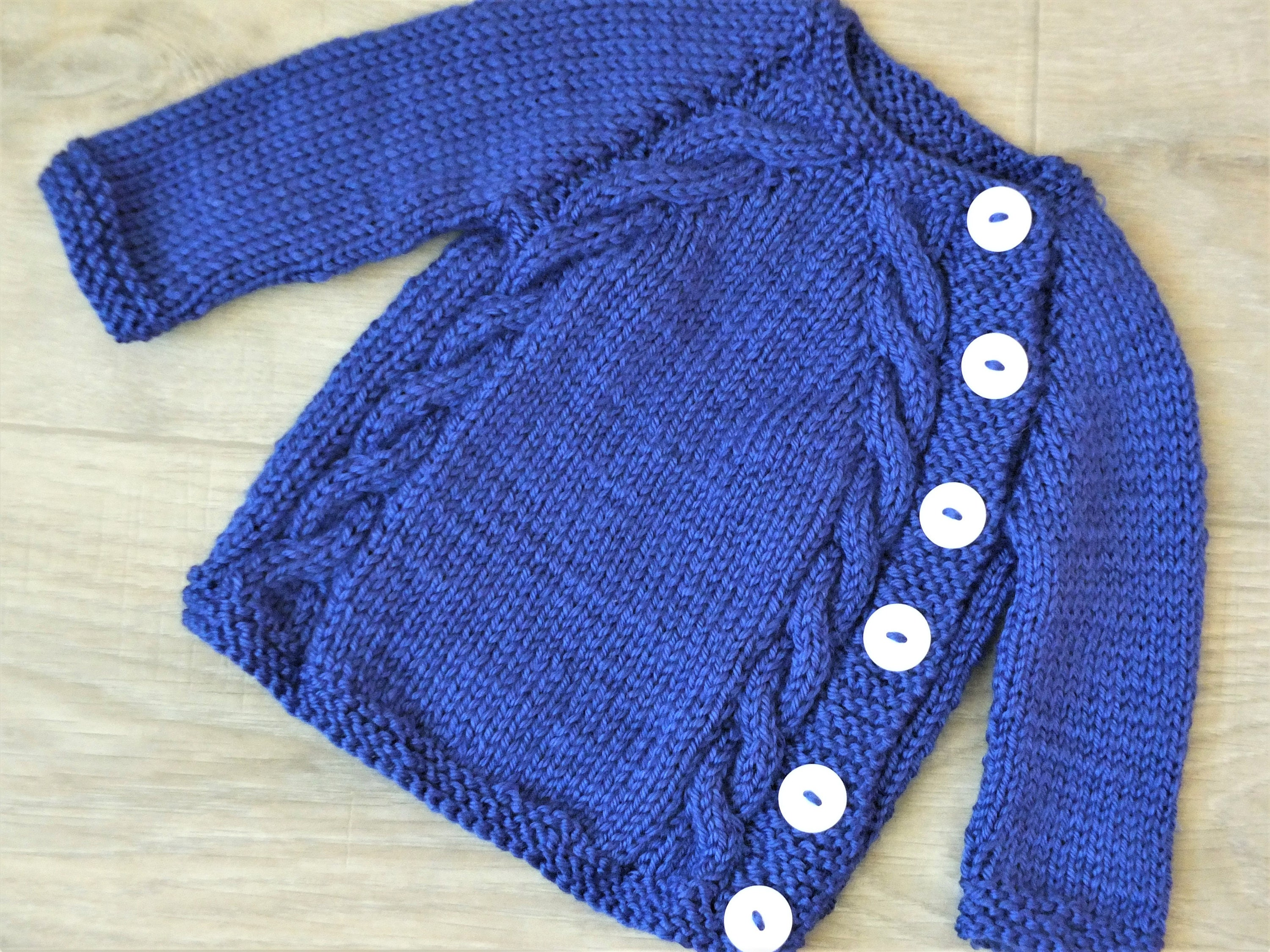 Hand Knitted Baby Boy Sweater Knit Baby Cardigan Navy