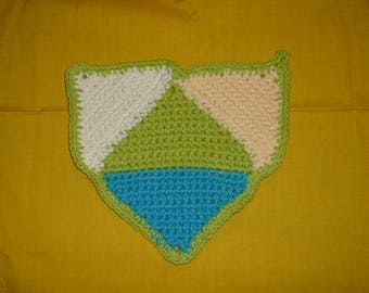 """CROCHETED COTTON POTHOLDER - Made w/ Lily's Sugar and Cream Cotton Yarn, Green, Yellow, Blue and White, 7.5"""" length, 7"""" width."""