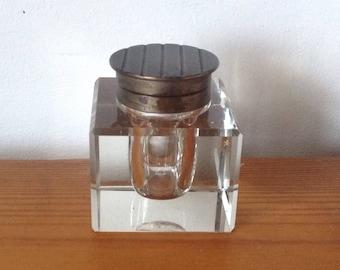 Art Deco Solid Glass Ink Pot. 1920's/30's.