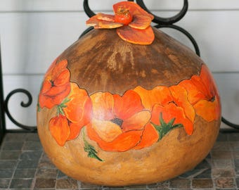 Beautiful Vintage Hand Painted Poppy Gourd with Lid/Signed/Cottage Chic