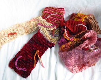 Red Fashion - Handspun yarn and commercial yarn blend scarf - extra long, skinny scarf, reds, pinks, warm colors, happy, early spring scarf