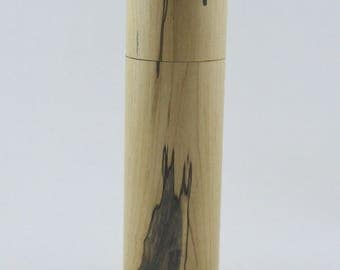 Spices and peppermill grinder in spalted Maple , Cylinder  style with rod mechanisme  9 in X 2 1/2 D item no: 940