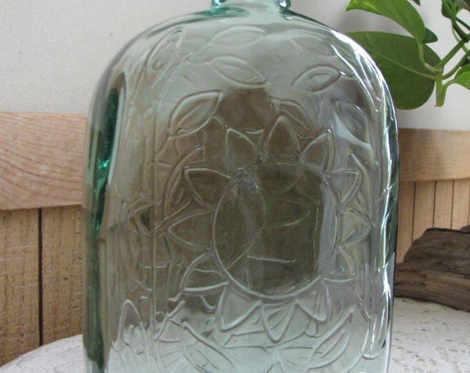 Old Bottle, Green Square Liquor Bottle or Decanter Sunflower Design