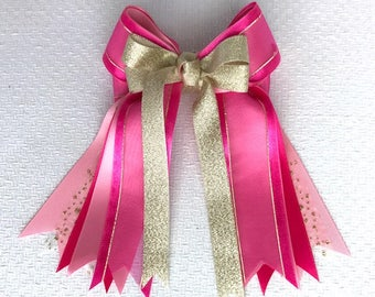 Equestrian Hair Bows, Pink Sheer & Gold, Fancy, Beautiful Gift, Bowdangles Show Bows