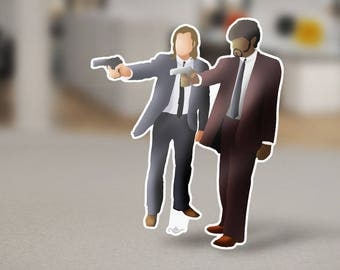 Vincent Vega and Jules Winnfield from Pulp Fiction Sticker Design, a pop culture iconic film directed by Quentin Tarantino in Los Angeles