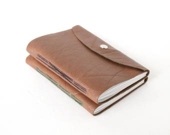 Little Leather Travel Journals - Set of Two Brown Leather Unlined Notebooks with Snap Closure, Travel Log, Small Sketchbook, His and Hers