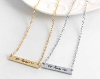 LOVE engraved necklace (come in gold or silver)