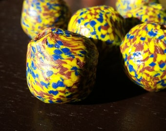 1 African recycled glass bead, opaque, bicone, special glass, (approx. 25 mm.diameter)
