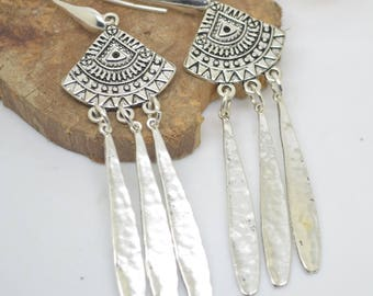 Ethnic earrings with long drops with sterling silver hooks