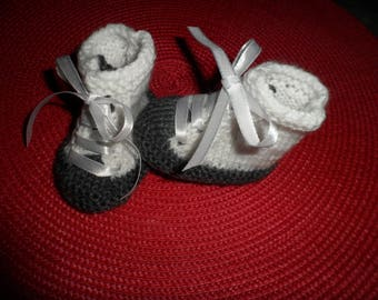 Slippers, sneakers baby wool (0-3 months)