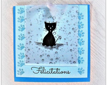 baby boy congratulations card, blue cats tribe