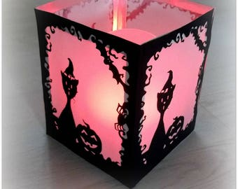 Halloween lantern, for candle led tribe of cats
