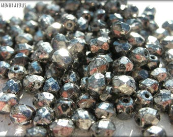 Faceted 4 mm CRYSTAL ANTIQUE CHROME (18549) X 50