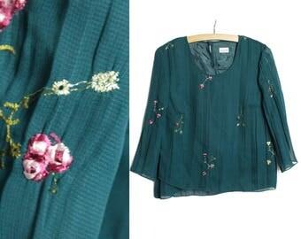 Moss green blouse, Embroidered  shirt, Wide sleeve blouse, Long sleeve blouse, Women blouse, Moss green shirt, Vintage green blouse / Medium