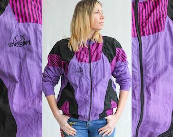 Purple naylon windbreaker, Colorblock jacket, Vintage jacket, Purple Track jacket, Vintage windbreaker, Sports jacket, Tracksuit / Medium