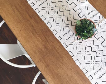 Mudcloth Table Runner | Natural Classic Print
