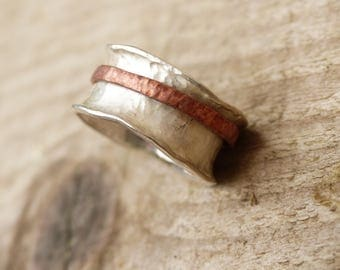 silver and bronze meditation ring