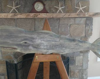 "Wooden Whale - Hand Carved - 40"" Long"