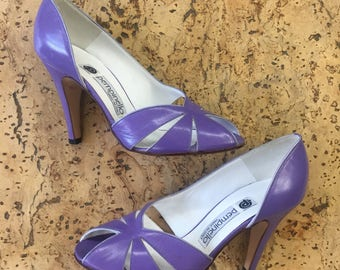 Pumps light purple leather high heels open toe Pempinello vintage dead stock 1980