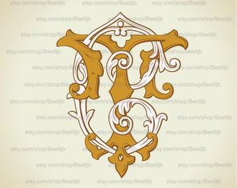 Vintage Monogram CT, TC  | Wedding logo | Wedding Clip Art