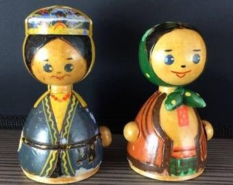 Lot of 2 vintage Wooden Folk Dress Doll Figurine