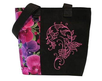 Tote Bag- Orchids- A recycled denim, embroidered, lined totebag.  Eco-Friendly handbags.