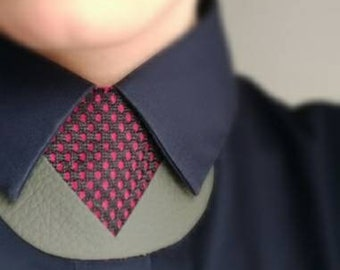 Fuchsia Leather & felt shirt necklace,unique collar accessory, unisex bow tie alternative, statement necklace, bold necklace, shirt tie
