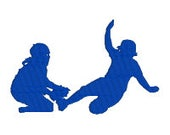 """BUY 2 GET 1 FREE - Softball Silhouette Machine Embroidery Design - Girl Sliding Into First Base - 3"""", 4"""", 7"""", 10"""""""