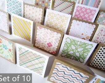"3"" x 3"" Mini Note Cards with Envelope / Blank Note Cards / Thank you cards / Mini Thank You Enclosures / Assorted Patterns  / Set of 10"